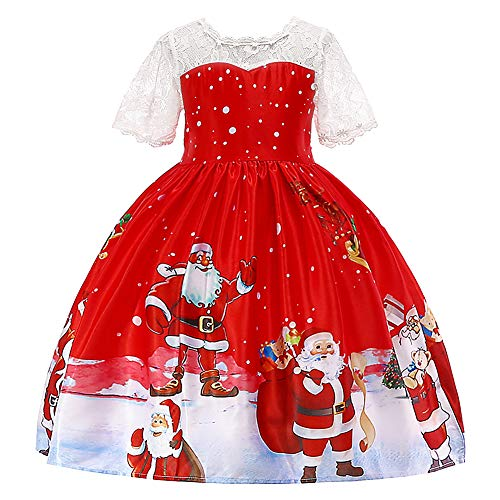 HUANQIUE Girls Dress Christmas Eve Xmas Snow Holiday Party Dresses Red 6-7 Years