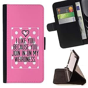 - Queen Pattern FOR Samsung ALPHA G850 /La identificaci????n del cr????dito ranuras para tarjetas tir????n de la caja Cartera de cuero cubie - polka dot pink love valentines coupl