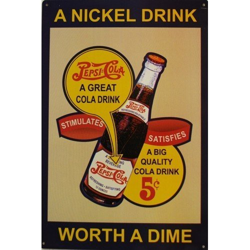Pepsi Cola - Nickel Drink Metal Sign by PepsiCo. - Pepsi Cola Metal