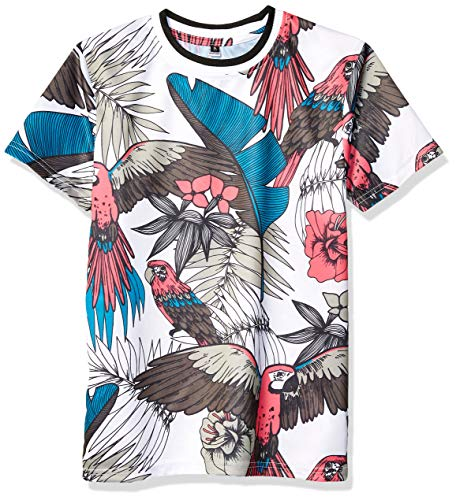Southpole - Kids Boys' Big Poly AOP T-Shirt, White Parrot, Medium ()
