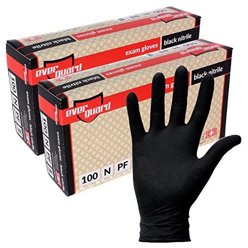 EverGuard Black Nitrile Exam Gloves, Non Latex, Powder Free (200, Medium) by Ever Ready First Aid
