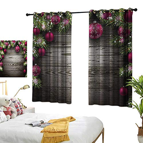 Bedroom Curtains W72 x L63 Christmas,Old Fashioned Concept with Twigs and Balls on Rustic Wood Vintage Design Print,Brown Pink Room Darkening Curtains for Childrens Living Room Bedroom ()