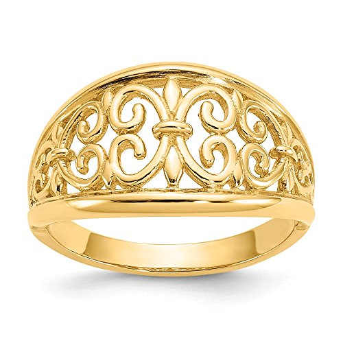 Jewels By Lux 14K Yellow Gold Fleur-De-Lis Tapered Ring - Gold Tapered Ring
