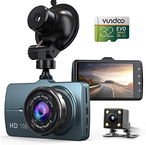 Dash Cam Front and Rear Car Camera, 1080P 3.2 Dashboard Camera with 32GB SD Card, 170 Wide Angle, Night Vision Dashcam for Cars, Driving Recorder with G-Sensor, Loop Recording