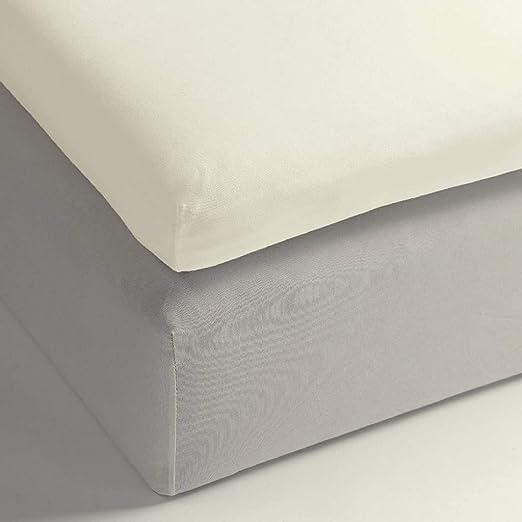 Heckett Lane - Sábana Bajera Ajustable (100% algodón, satén mako, 160 x 200 + 12 cm) Wit.: Amazon.es: Hogar
