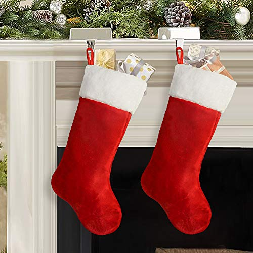 Red And White Christmas Stocking (Ivenf Christmas Stockings, 2 Pcs 19 inches Classic Red and White Mercerized Velvet with Extra Thick Plush Stockings, for Family Holiday Xmas Party)