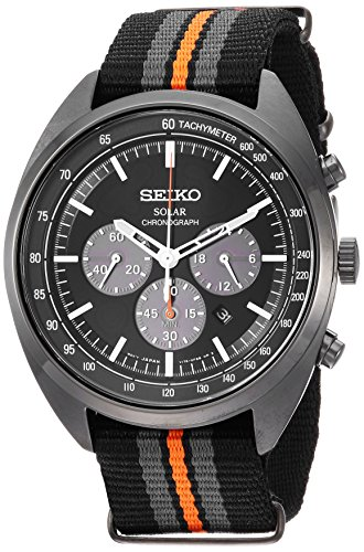 Seiko Men's RECRAFT Series Stainless Steel Japanese-Quartz Watch with Nylon Strap, Black, 21 (Model: SSC669) (Seiko Watches For Men Ssc)