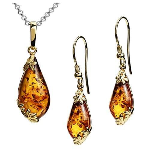 Amber Gold Plated Sterling Silver Earrings Pendant Necklace Set Chain 18