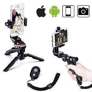 Zeadio Ergonomic Swivel Smartphone Handheld Grip Stabilizer Tripod Selfie Stick Handle Steadycam Kits with Bluetooth Remote, Fits iPhone Samsung Huawei Sony LG Nexus Nokia and all Phones