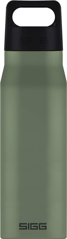 SIGG Explorer Leaf Green Botella metálica (1 L), cantimplora hermética sin sustancias nocivas, resistente botella de acero inoxidable que no altera los olores