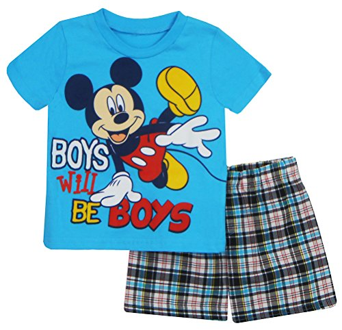 Disney Mickey Mouse Infant Boys Boys Will Be Boys 2 Piece Short Set Aqua 24M price tips cheap