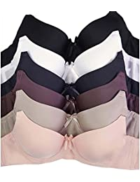 Women's Basic Plain Bras (Packs of 6) - Various Styles