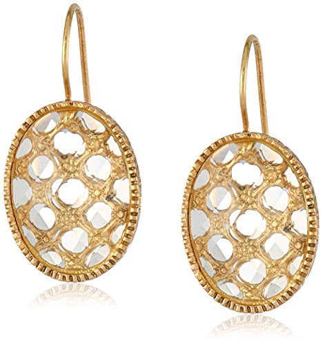 1928 Jewelry Gold-Tone Crystal Oval Faceted Drop Earrings