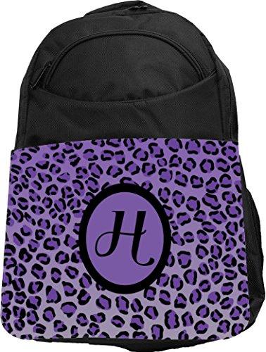 "Rikki Knight UKBK Letter ""H"" Purple Leopard Print Monogra..."