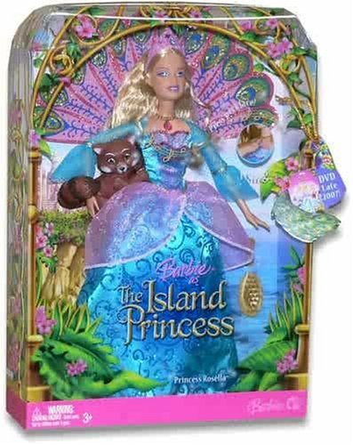 Barbie as The Island Princess 12 Inch Doll - Princess Rosella with Peacock Tail Accessory, Her Pet Raccoon and Hairbrush Princess Rosella Doll