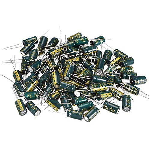 uxcell Aluminum Radial Electrolytic Capacitor Low ESR Green with 1000uF 10V 105 Celsius Life 3000H 8 x 14 mm High Ripple Current,Low Impedance 80pcs ()