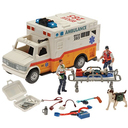 CP Toys Electronic Ambulance w/ Rescue Team & Accessories Playset