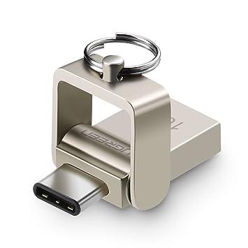 Pendrive USB 3.0 OTG, UGREEN Memoria Flash USB 3.0 y USB OTG Tipo C con Carcasa Metálica y Anilla de Llavero (16G)