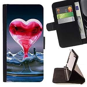For HTC One Mini 2 M8 MINI Case , Corazón de agua líquida- la tarjeta de Crédito Slots PU Funda de cuero Monedero caso cubierta de piel