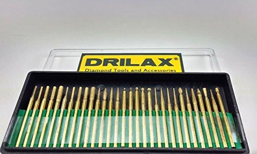 - Drilax 30 pcs Titanium Coated Diamond Burs Set Assorted Shapes Cone Cylindrical Round Bit Bur Kit Jewelry Beach Sea Glass Shells Gemstones Lapidary 1/8