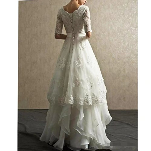 Bridal Dresses Gowns Sleeve Tiered for Organza 2018 Half Lace White Wedding Beaded Dimei Bride qzxTaPwx