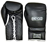 Japanese Style Training Boxing Gloves 2.0 - Velcro or Lace-Up - 12oz, 14oz, 16oz, 18oz - 9 Colors to choose (Black, 12oz Lace-up)