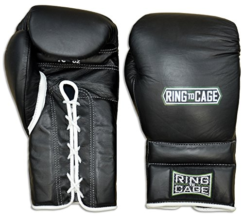 Japanese Style Training Boxing Gloves 2.0 - Hook&Loop or Lace-Up - 12oz, 14oz, 16oz, 18oz - 9 Colors to Choose (Black, 12oz Lace-up) ()