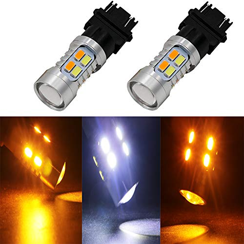 JIE Carall 3157 T25 3057 3357 3457 Switchback Dual Color White Amber led Turn Signals Brake Lights Bulb 5730 Chipsets 20SMD Replacement Exterior Backup Tail Light with Projector 12V (Pack of 2)