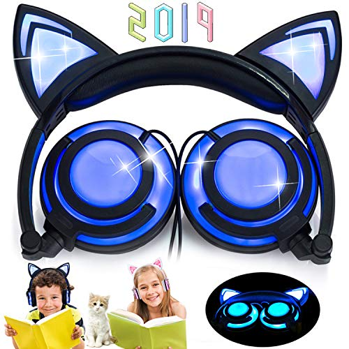 Kids Cat Ear Headphones with LED Full Flashing Lights USB Rechargable Wired Over/On Ear Adjustable Headband 3.5mm Jack Earphones Foldable Game Headset for Girls Boys Toddlers Android iOS Tablets Gift