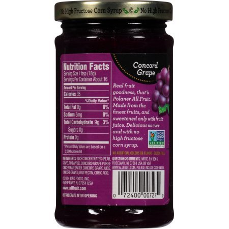 PACK OF 18 - Polaner All Fruit Spreadable Fruit Concord Grape, 10.0 OZ by Polaner All Fruit (Image #6)