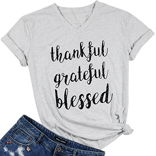 (FAYALEQ Women's Thankful Grateful Blessed V-Neck T-Shirt Casual Short Sleeve Tops Blouse Size L (Light)