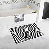 "INTERESTPRINT Optical Illusion Art Circle 20"" X 32"" Soft Shaggy Bath Mat Non-Slip Rubber Bathroom Rug Floor Mats"