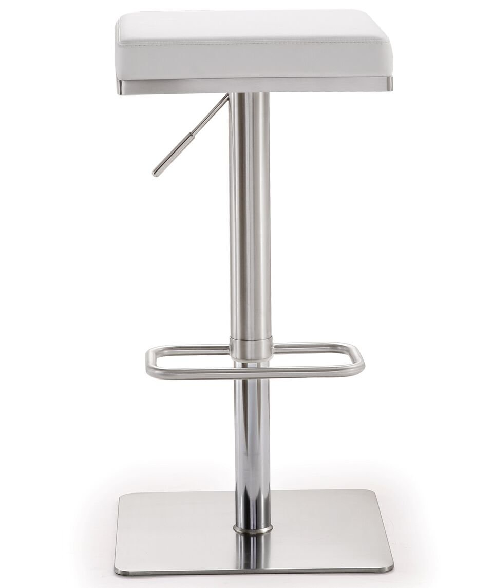 Tov Furniture The Bari Collection Adjustable Height Backless Swivel Stainless Steel Metal Industrial Bar Stool, White