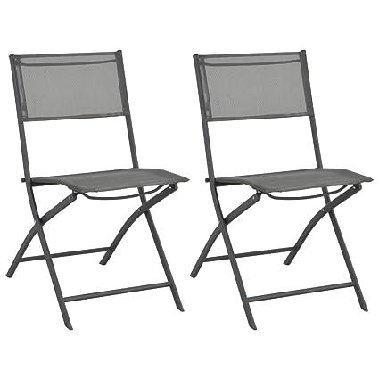 Festnight Sillas de Jardín Conjunto de Muebles Plegables 2 Unidades Acero y Textileno Gris 54,5 x 60 x 86 cm