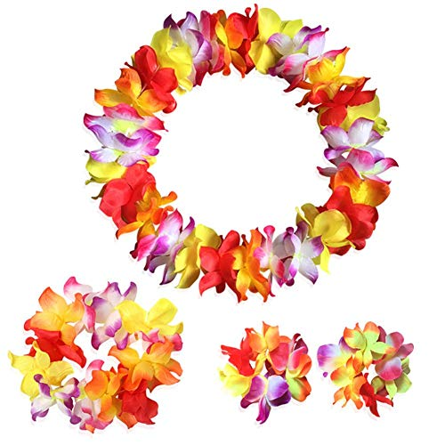 Yansanido [Updated Version Multicolor Hawaiian Leis Hawaiian Flower Leis Jumbo Necklace Bracelets Headband Set for Luau Party Decoration Supplies for Hawaiian Luau Party - Multi Color Lei