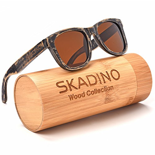 SKADINO Wayfarer Bamboo Sunglasses with Polarized lenses-Handmade Floating Wood Shades for - Glasses Skateboard