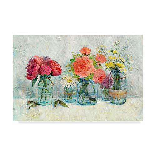 Trademark Fine Art Flowers in Mason Jars by Marietta Cohen Art and Design, -
