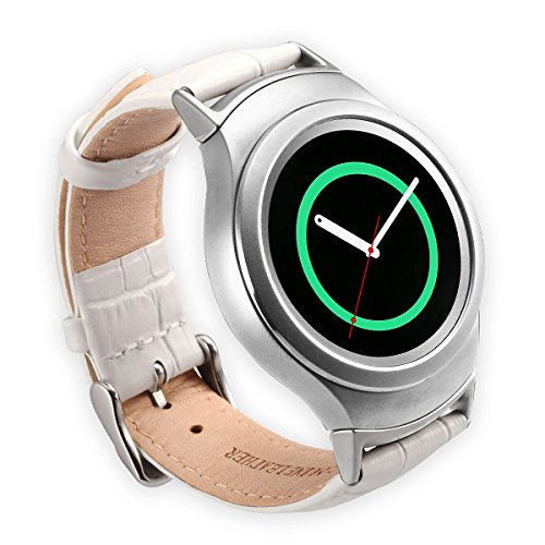 Valkit Compatible Gear S2 Bands Genuine Leather Smart Watch Band with Stainless Steel Adapter Crocodile Pattern Strap Replacement for Samsung Gear S2 (SM-R720/R730), (White) with Silver Adapter
