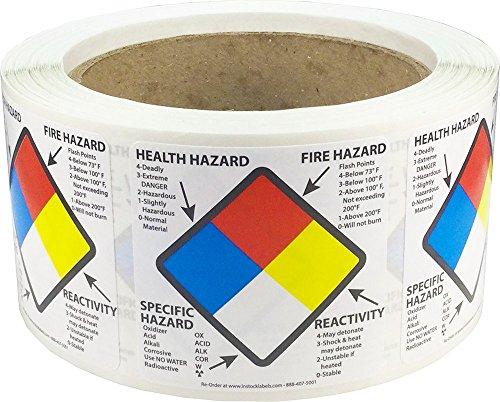 Right to Know Labels Health Fire Reactivity Specific Hazard 2 x 2 Inch Square 500 Adhesive Stickers (Nfpa Labels)