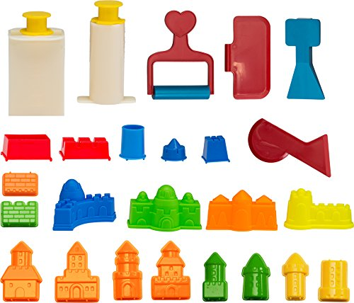CoolSand Building Sand Molds and Tools Kit - Works with All Other Play Sand Brands - 27 Pieces Includes: Castle, Bricks and Walls Molds, and Tools - Sand Not Included -