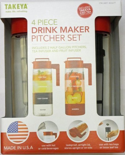 Takeya 4 Piece Drink Maker Pitcher Set (Red) (Takeya Cold Brew Coffee Maker compare prices)