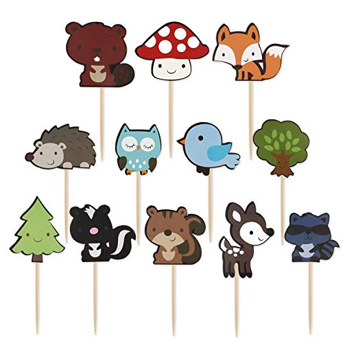 Friends Cupcake Picks - Mujiang Woodland Party Cupcake Toppers Forest Animals Friends Cake Toppers Picks For Birthday Wedding Party Decor, 48 Counts