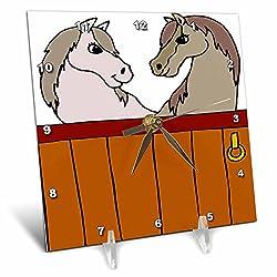 3dRose TDSwhite – Horse Equine Illustrations - Equine Stable Mates - 6x6 Desk Clock (dc_285616_1)