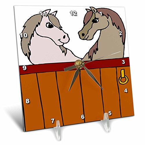 3dRose TDSwhite – Horse Equine Illustrations - Equine Stable Mates - 6x6 Desk Clock (dc_285616_1)