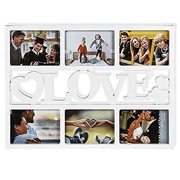Corazón Marco de fotos,Portaretratos corazón, para 6 FOTOS - imágenes Forma De Corazón Blanco Amor: Amazon.es: Hogar