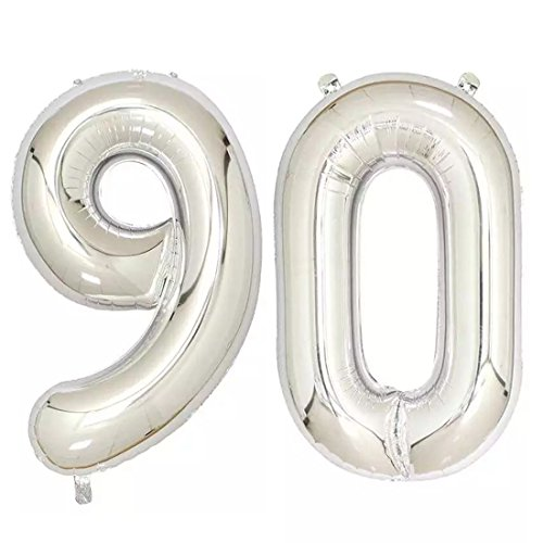 40inch Silver Foil 90 Helium Jumbo Digital Number Balloons, 90th Birthday Decoration for Women or Men, 90 Birthday Party Supplies]()
