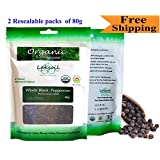 Certified Organic Black Peppercorns -Gourmet 160g