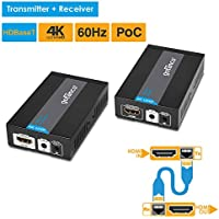 gofanco HDMI Extender 4K 60Hz HDBaseT Ultra HD over CAT5e/CAT6/CAT7 Ethernet cable with Bi-directional IR, PoC - Up to 70 meters (230 feet) @ 1080p 60Hz 40 meters (130 feet) @ UHD 4K 60Hz, HDCP 2.2