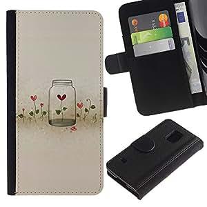 SAMSUNG Galaxy S5 V / i9600 / SM-G900 Modelo colorido cuero carpeta tirón caso cubierta piel Holster Funda protección - Flowers Locked Heartbreak Deep