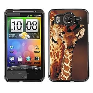 Qstar Arte & diseño plástico duro Fundas Cover Cubre Hard Case Cover para HTC Desire HD / G10 / inspire 4G( Giraffe Cub Baby Brown Pattern Orange Africa)